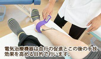 電気治療機器は血行の促進とこの後の手技の効果を高める目的で行います。