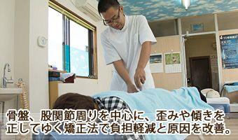 股関節、骨盤を中心に、歪みや傾きを正す矯正法で負担軽減と原因を解消